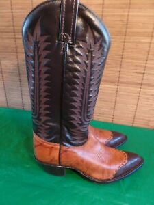 2272 TONY LAMA Snake skin Wingtip marbled Exotic Western Boots Women's Size 7.5B