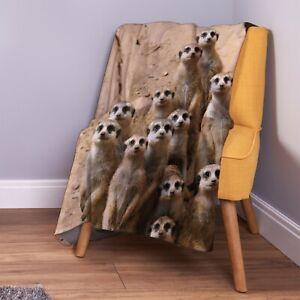 Erdmännchen Familie Design Weich Fleece Überwurf Decke