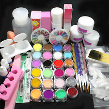 Professional Acrylic Glitter Color Powder French Nail Art Deco Tips Set tools