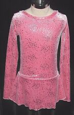 PINK and SILVER Ice Figure Skating Dress / Girls MEDIUM 8 / 9 / 10