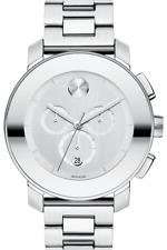 New Movado Bold Chronograph Silver Mirror Dial Silver Tone Men's Watch (3600147)