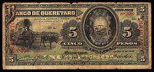 Mexico, El Banco de Queretaro 5 Pesos IRAPUATO, 15-Ene-1906. BK-QUE-6. Very Good