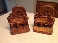 Vintage Wagon Bookends Horses Steer Cowboys Western Theme