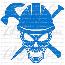 Construction Worker Skull with Hard Hat Nail and Hammer Vinyl Decal Sticker Car