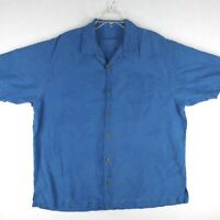 Tommy Bahama Shirt Mens XL Extra Large Short Sleeve Button Up Blue Silk