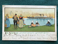 Red Star Line Official Color Art Postcard H. Cassiers ca. 1905 Dutch In Costume