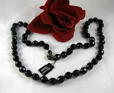 Gorgeous Black Faceted Bohemian Glass Beaded Necklace FERAL  CAT RESCUE