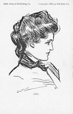 Charles Dana Gibson Girl~Amy~Lovely Lady Profile~Scarf Pin~#14068 Detroit Pub Co