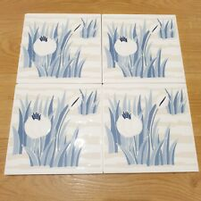 4x Vintage? Cerdisa Italian 20cm Ceramic Wall Tiles - Blue Grass Flower Pattern
