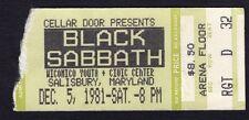 1981 Black Sabbath Alvin Lee Mick Taylor Concert Ticket Stub Mob Rules Salisbury