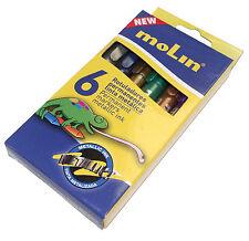 6 x Metallic Permanent Markers - Bullet Tip - Molin Brand