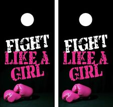 BREAST CANCER GIRL.Cornhole Board Game Decal Wraps USA High Quality Image bag 3M