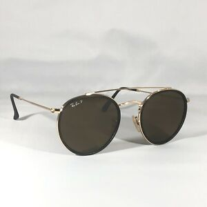 Ray-Ban Round Double Bridge Sunglasses 3647N 001/57 Gold Polarized Brown Lenses