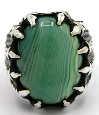 Green Agate Men's Ring 925 Sterling Silver Size 64