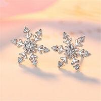 White Topaz Snowflake Stud Earrings 925 Silver Womens Jewellery Xmas Gift