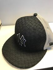 wholesale dealer 7f299 8e473 A33 NEW ERA NY NEW YORK YANKEES WOVEN FRONT Snapback Black Grey Baseball Cap  S