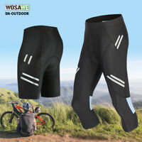Men's 3/4 Cycling Pants Gel Padded Bike Bicycle Biking Shorts Tights Summer