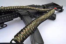 Tactical 550 Paracord Rifle Gun Shotgun Sling 1 Point Compass & Flint GREEN CAMO