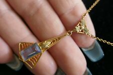 Vintage 10K Yellow Gold Lavalier Type Necklace - Light Blue Stone