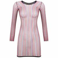 Sexy Women Mesh Net Stripe Mini Dress See-Through Fishnet Long Sleeve Party Club