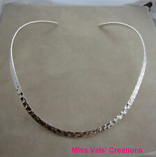 1 silver plated plain hammered neckwire necklace choker base