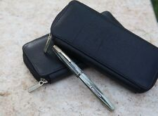 Leather 2 pen zip-close pen case, Black, NEW & STYLISH Great for travel!