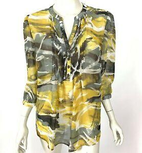 Nicole Miller NY Chiffon Blouse Long Sleeve Top Sheer Popover Gray Women Large