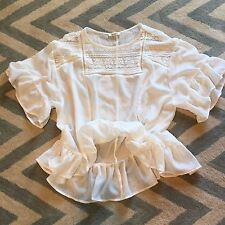 New ANTHROPOLOGIE Women's Bohemian White Gauze Peasant Lace Blouse Top - Small