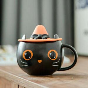 NEW Starbucks Cute Black Cat W/ Witch Cap Lid Coffee Mug Cup Hallowmas Gift cute