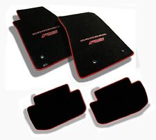 NEW! Ebony floor mats 2010-2015 Camaro Embroidered Logo RS Red w/ red binding 4