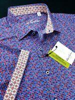 Robert Graham Polka Dotted Circular Print Short Sleeve Shirt