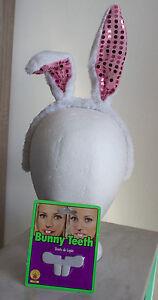New White / Pink Sequin Rabbit Bunny Ears Headband & Rubie's Bunny Teeth r6