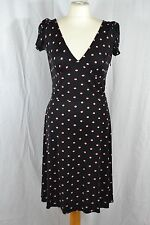 ISSA black and pink patterned cap sleeve tea dress mid length size 12 silk