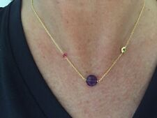 18K Gold On 925 Sterling Silver Necklace Amethyst Pendant Ruby Gemstones & Pearl