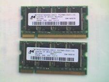 2x Micron MT8VDDT3264HDG (2 x 256MB DDR1 PC2700 333MHz SODIMM 200-pin) DRAM - M
