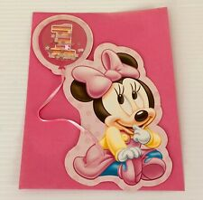 First Birthday Party Invitations Baby Minnie Mouse Confetti Balloon w Envelopes