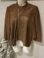 bcbg brown perforated suede cropped asym zip jacket small  women