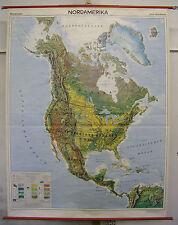 Schulwandkarte Wandkarte Karte Rollkarte Nordamerika Orbit-Karte 136x176cm ca.70