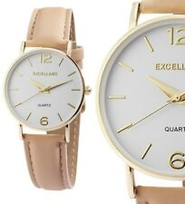 Damenuhr Armbanduhr Goldfarbig Kunstlederarmband beige 22cm 195002600230