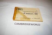 Contax Iii Camera Instruction Manual Guide Book Original Genuine