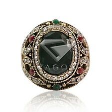 Emerald Antique Round Alloy Gold Plated Copper Jewelry  Vintage Rings BM