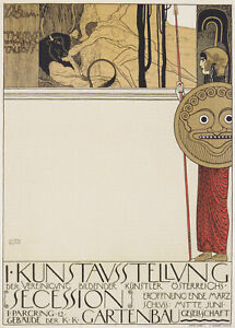 """Gustav Klimt - Poster for First Art Exhibition of Secession Art Movement 17""""x22"""""""