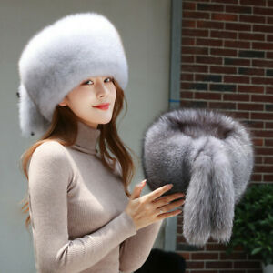 Women's Full Covered Real Fox Fur Hat Russian Warm Ushanka Cossack Ski Cap Xmas