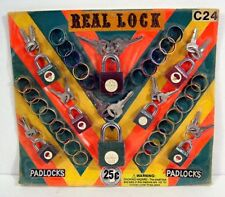 Real Lock Padlocks & Keys Rings Gumball Vending Machine Disp Card Toys #40
