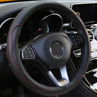 "Black & Red PU Leather Car Auto Steering Wheel Cover 38CM 15""/38cm Universal"