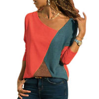 Women T-shirts Long Sleeve Round Neck Patchwork Pullover Slim Fit Female Tops