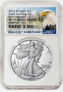 2021 W PROOF SILVER EAGLE TYPE 2 LANDING NGC PF70UC PR70 FR GOV BOX INCLUDED !