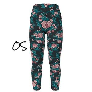 OS LuLaRoe One Size Leggings Beautiful Pink Roses With Real And Black NWT