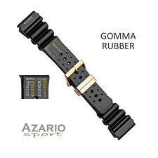 Cinturino gomma passanti dorati 24 mm depth time Citizen Seiko Pvc strap watch