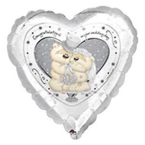 "Balloon Wedding Day Teddy Congratulations On Your Fizzy Moon Anagram Foil 18"" XL"